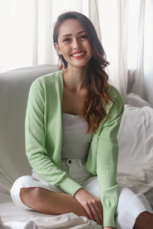 Soft As Clouds Cardigan in Apple Green