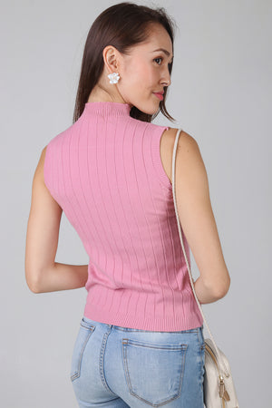 Soft Wool High-neck Top in Pink