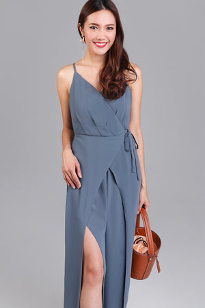 Daphne Split-Leg Jumpsuit in Ash Blue