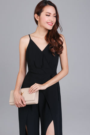 Daphne Split-Leg Jumpsuit in Black