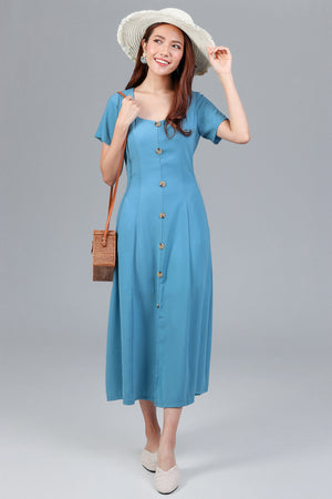 Darcy Button Maxi Dress in Blue