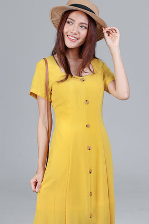 Darcy Button Maxi Dress in Yellow