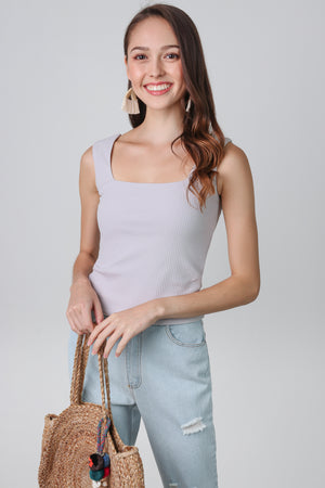 Ribbed Square Neck Top in Grey