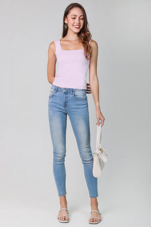 Basic Cotton Square Neck Top in Pale Lilac