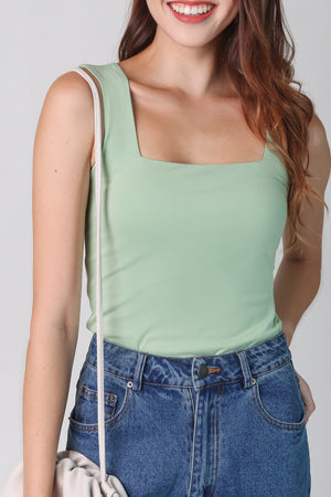 Basic Cotton Square Neck Top in Pistachio