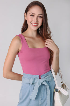 Basic Cotton Square Neck Top in Rose