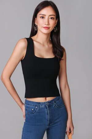 Square Neck Basic Top in Black