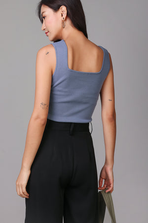Backorder* Square Neck Basic Top in Blue