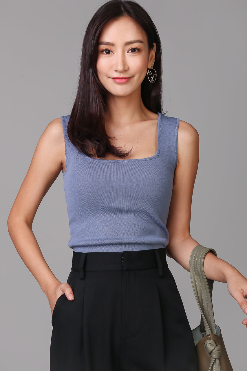 Square Neck Basic Top in Blue