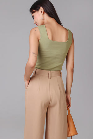 Backorder* Square Neck Basic Top in Olive