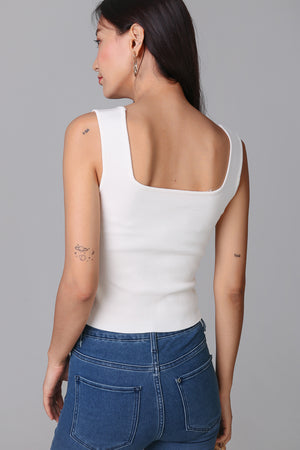 Restocked* Square Neck Knit Top in White