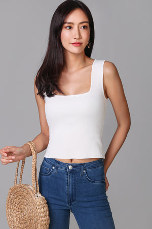 Square Neck Basic Top in White