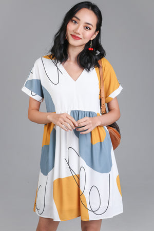 Squiggle Graphic Babydoll Dress in Mustard