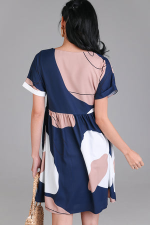 Squiggle Graphic Babydoll Dress in Navy