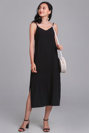 Rachel Midi Dress in Black