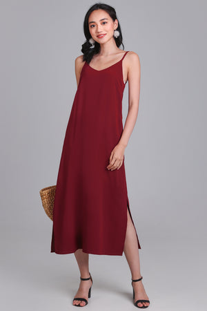 Rachel Midi Dress in Wine