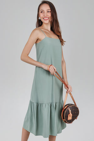 Helena Dropwaist Dress in Jade
