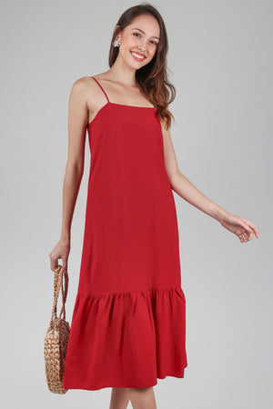 Helena Dropwaist Dress in Red