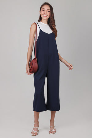 Cleo Strappy Pinafore Jumpsuit in Navy