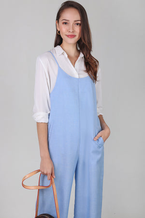 Cleo Strappy Pinafore Jumpsuit in Sky