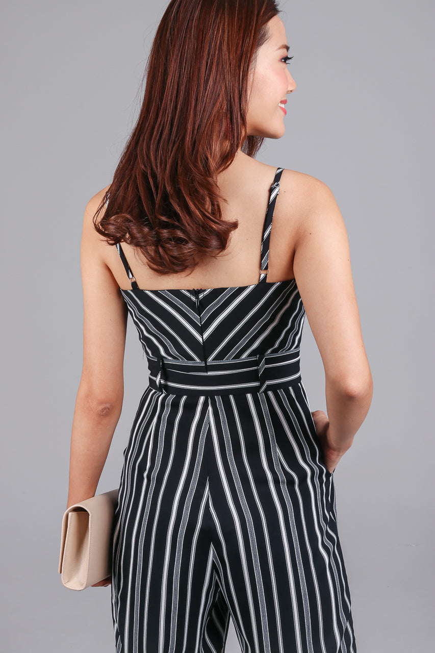 Meridith Striped Jumpsuit in Black