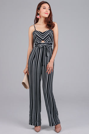 Restocked* Meridith Striped Jumpsuit in Black