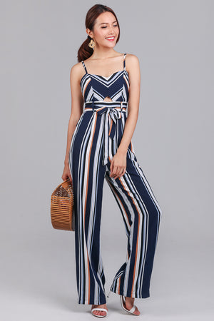 Meridith Striped Jumpsuit in Navy