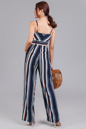 Restocked* Meridith Striped Jumpsuit in Navy