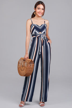 Backorder* Meridith Striped Jumpsuit in Navy