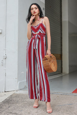 Backorder* Meridith Striped Jumpsuit in Wine