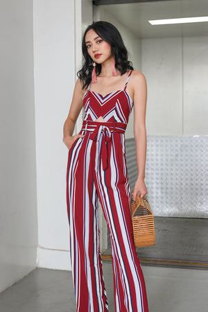 Meridith Striped Jumpsuit in Wine