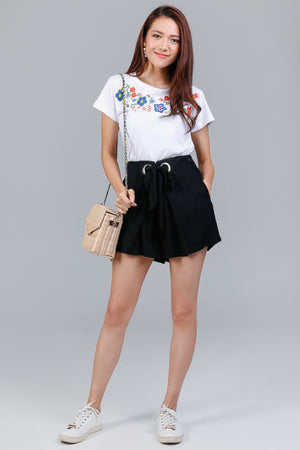 Summer Time Embroidered Tee in White