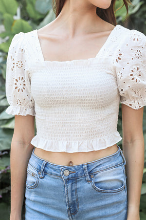 Sunburst Eyelet Top in White