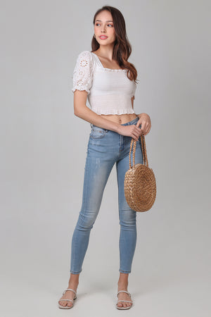 Backorder* Sunburst Eyelet Top in White