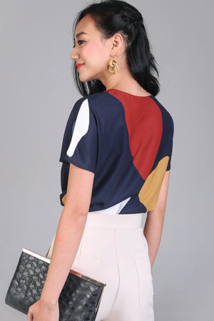 Backorder* Sunny Days Tee Top in Navy Pebbles