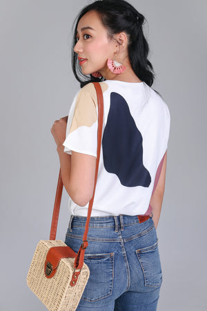 Backorder* Sunny Days Tee Top in White Pebbles