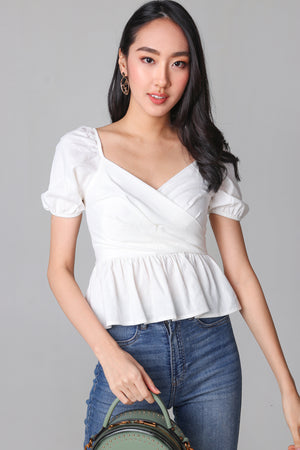 Backorder* Tina Peplum Top in White