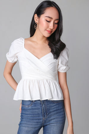 Tina Peplum Top in White