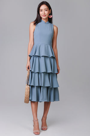 Shalyn Tier Dress in Ash Blue