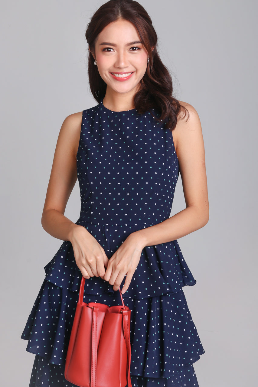 Shalyn Tier Dress in Navy Polkadot