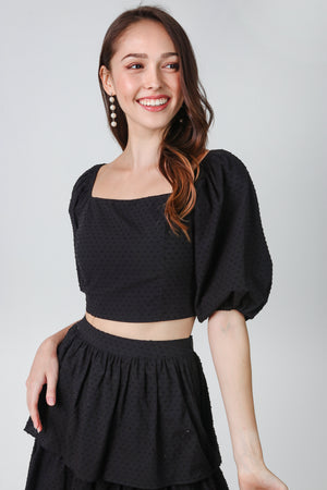 Kayla Balloon Sleeve Top in Black Swiss Dots