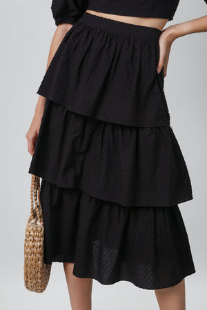 Windsor Tier Midi Skirt in Black Swiss Dots