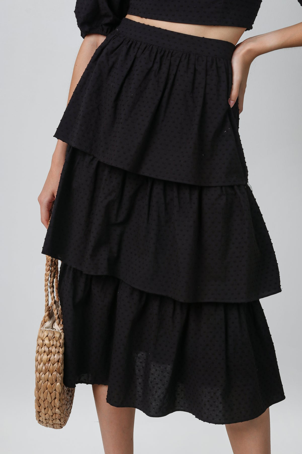 Back In Stock* Windsor Tier Midi Skirt in Black Swiss Dots