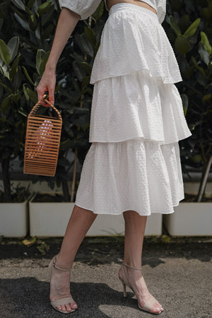 Windsor Tier Midi Skirt in White Swiss Dots