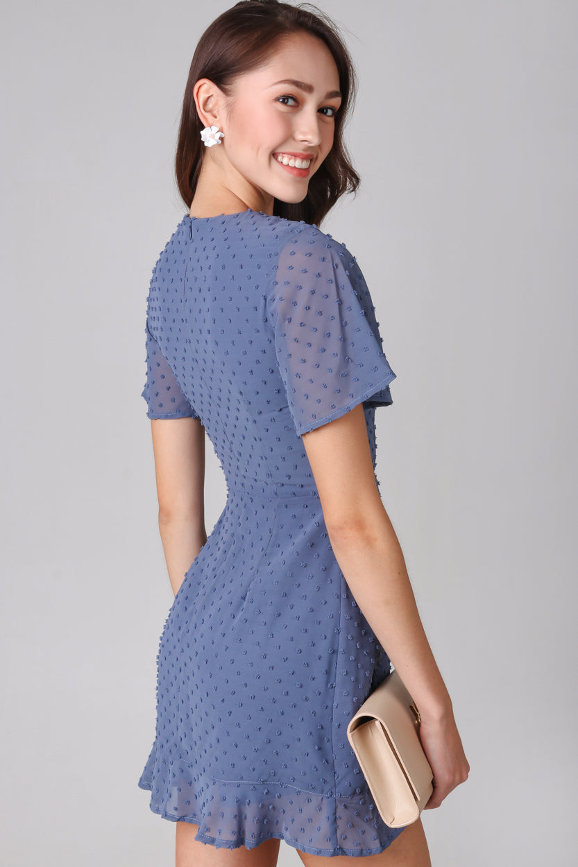 Restocked* Ethel Swiss Dots Playsuit in Blue