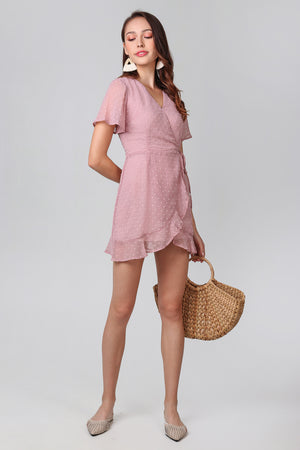 Ethel Swiss Dots Playsuit in Dusty Pink