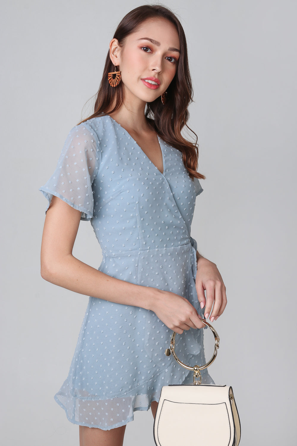 Ethel Swiss Dots Playsuit in Pale Turquoise