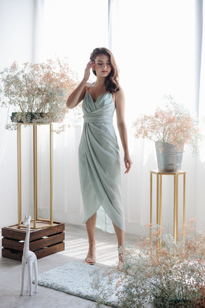 Eleanor Tulip Wrap Dress in Sage