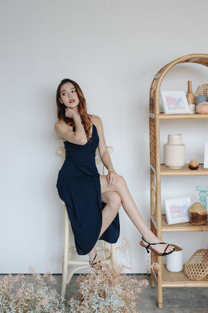 Eleanor Tulip Wrap Dress in Navy
