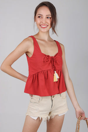 Joy Tassel Babydoll Top in Rust